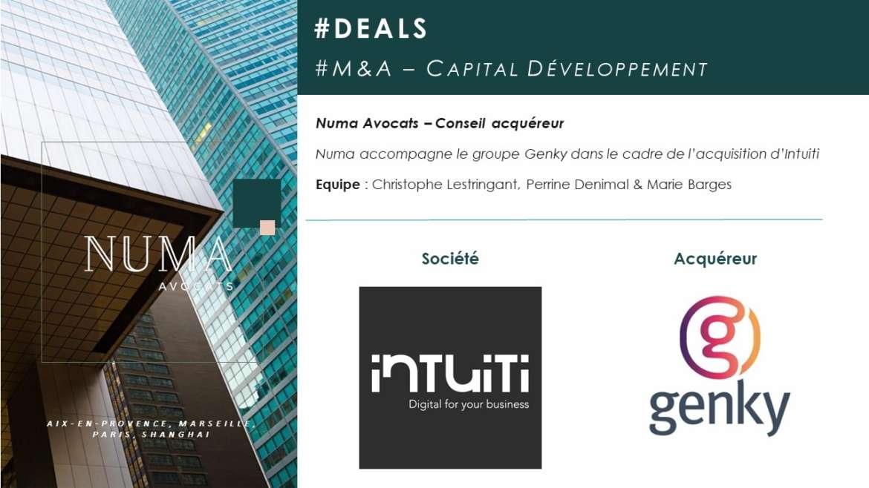 Numa Avocats accompagne le groupe Genky dans le cadre de l'acquisition de la société Intuiti