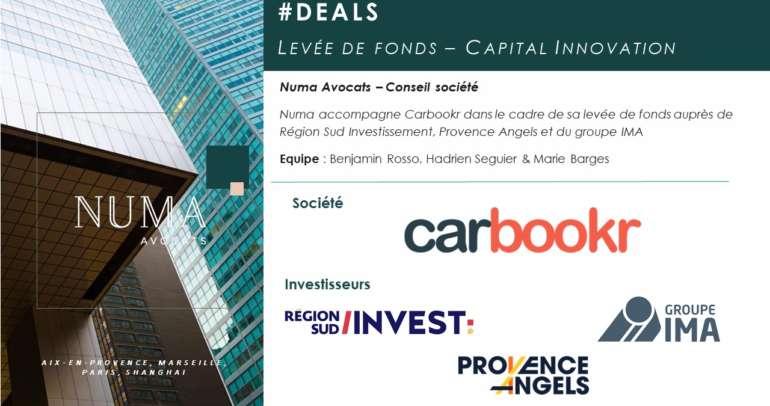 Numa Avocats accompagne Carbookr dans le cadre de la levée de fonds auprès d'IMA, Région Sud Investissement et Provence Angels